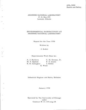 Primary view of object titled 'ENVIRONMENTAL RADIOACTIVITY AT ARGONNE NATIONAL LABORATORY. Report for the Year 1956'.