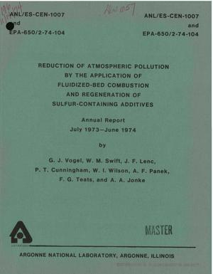 Primary view of object titled 'Reduction of atmospheric pollution by the application of fluidized-bed combustion and regeneration of sulfur-containing additives. Annual report, July 1973--June 1974'.
