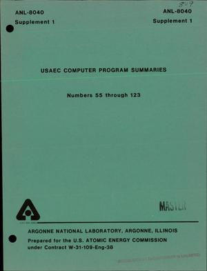 Primary view of object titled 'USAEC computer program summaries: Numbers 55 through 123'.
