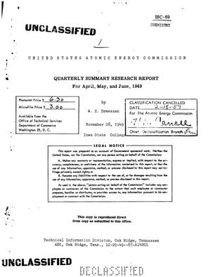Primary view of object titled 'QUARTERLY SUMMARY RESEARCH REPORT FOR APRIL, MAY, AND JUNE 1949'.