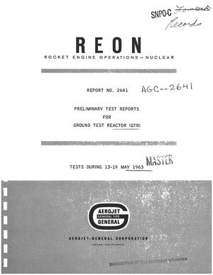 Primary view of object titled 'Preliminary test reports for ground test reactor (GTR)'.