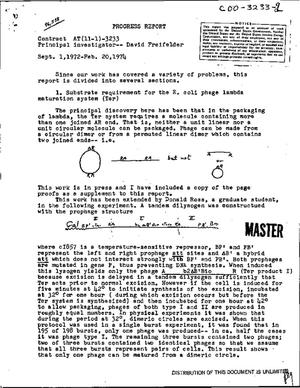 Primary view of object titled 'Some aspects of the mechanism of bacteriophage function. Progress report, September 1, 1972--February 20, 1974'.