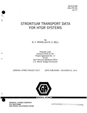 Primary view of object titled 'Strontium transport data for HTGR systems'.