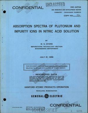 Primary view of object titled 'Absorption Spectra of Plutonium and Impurity Ions in Nitric Acid Solution'.