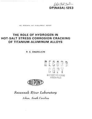 Primary view of object titled 'Role of hydrogen in hot-salt stress corrosion cracking of titanium-- aluminum alloys'.