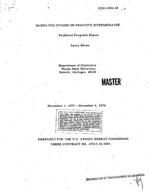 Primary view of object titled 'Radiolysis studies on reactive intermediates. Technical progress report, November 1, 1973--November 1, 1974'.