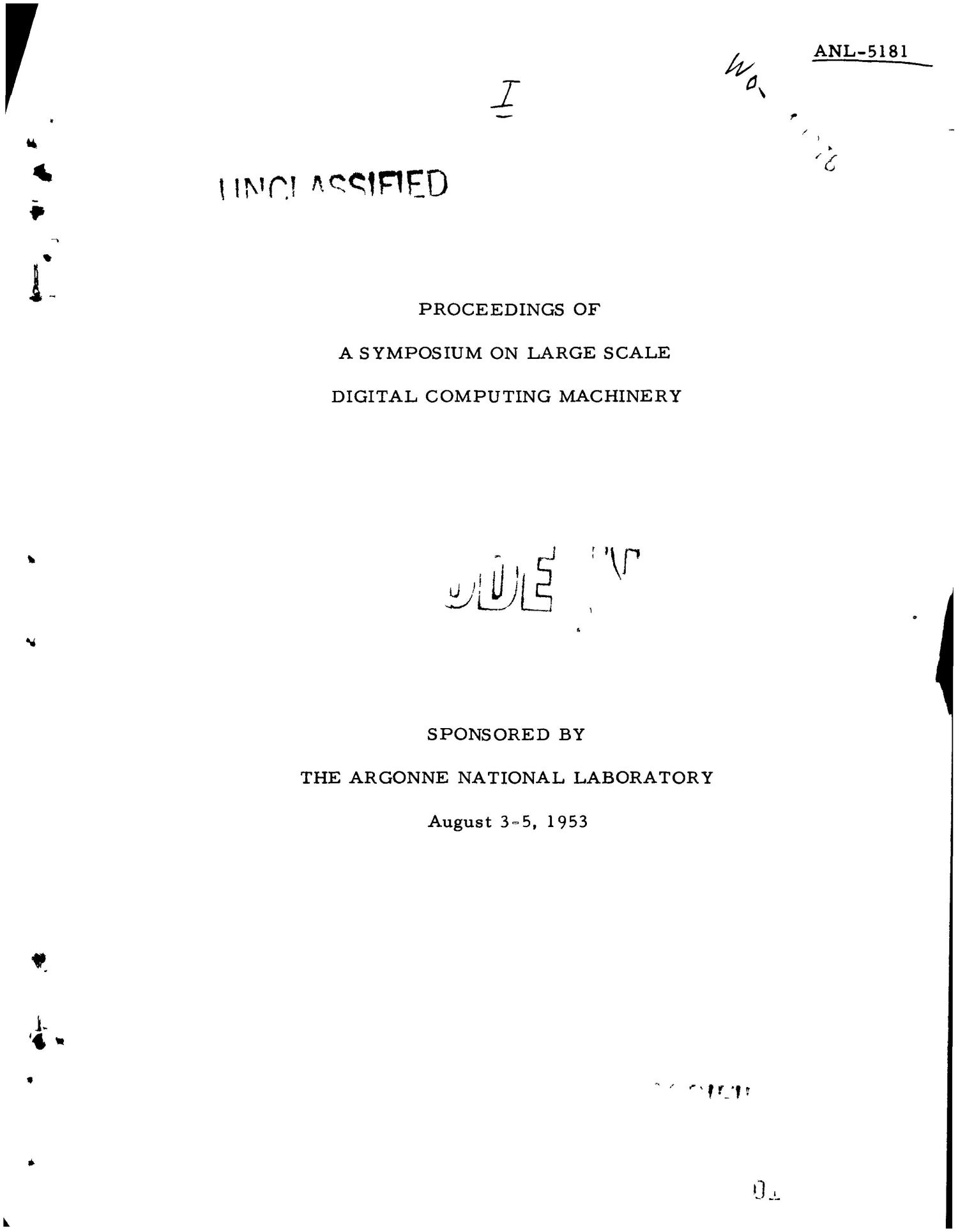 PROCEEDINGS OF A SYMPOSIUM ON LARGE SCALE DIGITAL COMPUTING MACHINERY, AUGUST 3-5, 1953                                                                                                      [Sequence #]: 1 of 319