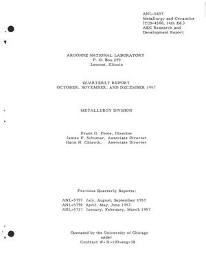 Primary view of object titled 'QUARTERLY REPORT FOR OCTOBER, NOVEMBER, AND DECEMBER 1957'.
