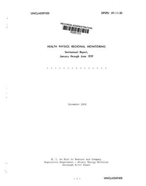 Primary view of object titled 'Health physics regional monitoring semiannual report, January--June 1959'.