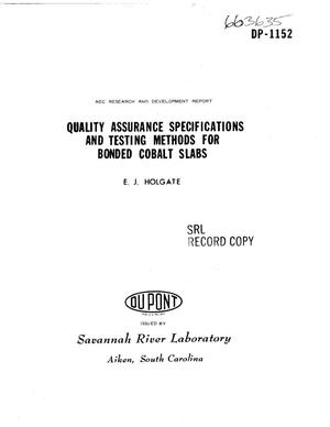 Primary view of object titled 'QUALITY ASSURANCE SPECIFICATIONS AND TESTING METHODS FOR BONDED COBALT SLABS.'.
