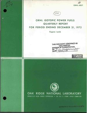 Primary view of object titled 'ORNL isotopic power fuels quarterly report for period ending December 31, 1972'.