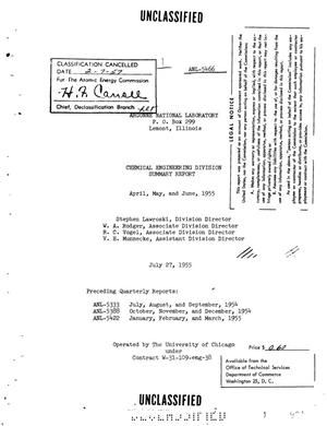 Primary view of object titled 'CHEMICAL ENGINEERING DIVISION SUMMARY REPORT FOR APRIL, MAY, AND JUNE 1955'.