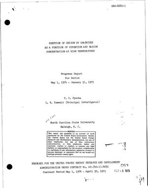 Primary view of object titled 'Sorption of cesium by graphites as a function of strontium and barium concentration at high temperatures. Progress report for period May 1, 1974--January 31, 1975'.