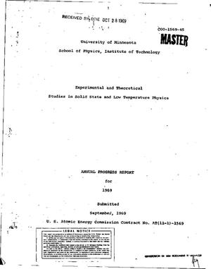 Primary view of object titled 'Experimental and Theoretical Studies in Solid State and Low Temperature Physics. Annual Progress Report, 1969.'.