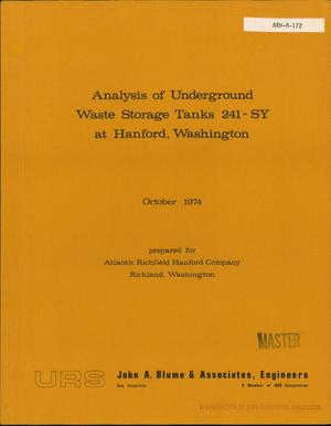 Primary view of object titled 'Analysis of underground waste storage tanks 241-SY at Hanford, Washington'.