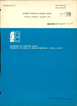 Primary view of object titled 'QUARTERLY TECHNICAL PROGRESS REPORT, OCTOBER--DECEMBER 1971.'.