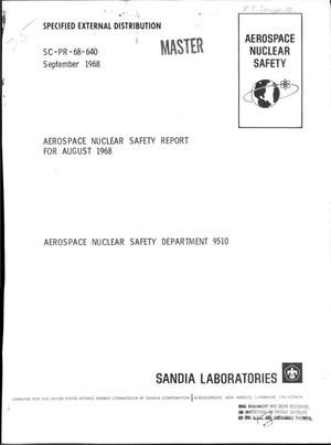 Primary view of object titled 'Aerospace nuclear safety report, August 1968'.
