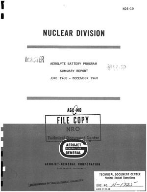 Primary view of object titled 'Aerolyte battery program. Summary report, June 1968--December 1968'.