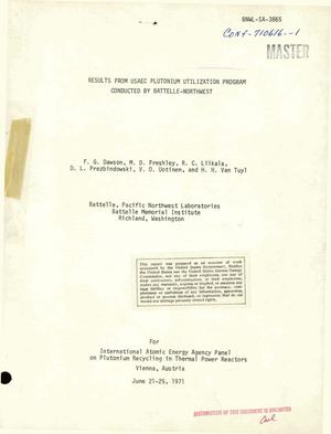 Primary view of object titled 'RESULTS FROM USAEC PLUTONIUM UTILIZATION PROGRAM CONDUCTED BY BATTELLE- NORTHWEST.'.