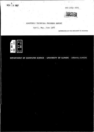 Primary view of object titled 'QUARTERLY TECHNICAL PROGRESS REPORT, APRIL--JUNE 1966.'.