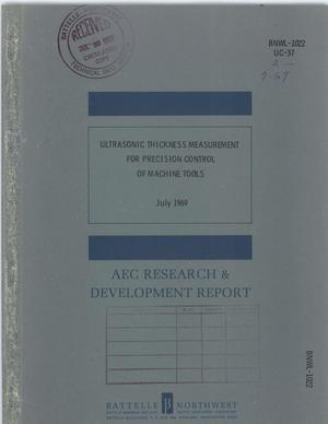 Primary view of object titled 'ULTRASONIC THICKNESS MEASUREMENT FOR PRECISION CONTROL OF MACHINE TOOLS.'.