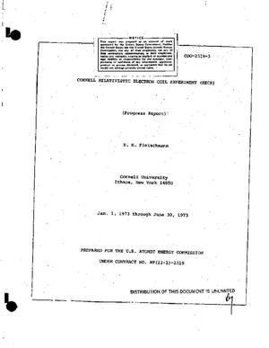 Primary view of object titled 'Cornell relativistic electron coil experiment (RECE). Progress report, January 1, 1973--June 30, 1973'.