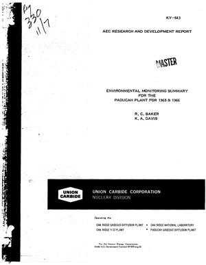 Primary view of object titled 'Environmental monitoring summary for the Paducah Plant for 1965 & 1966'.