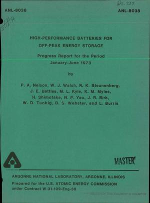 Primary view of object titled 'High-performance batteries for off-peak energy storage. Progress report for the period January--June 1973'.