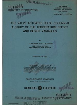 Primary view of object titled 'The Valve-Actuated Pulse Column-- [Part] 2. A Study of the Temperature Effect and Design Variables'.
