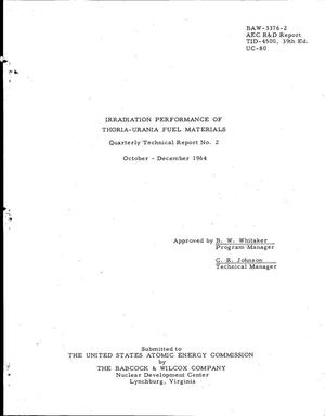 Primary view of object titled 'IRRADIATION PERFORMANCE OF THORIA-URANIA FUEL MATERIALS. Quarterly Technical Report No. 2, October-December 1964'.