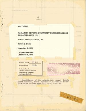 Primary view of object titled 'Radiation Effects Quarterly Progress Report for April-June 1954'.