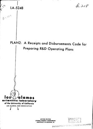 Primary view of object titled 'PLAN2: a receipts and disbursements code for preparing R and D operating plans'.