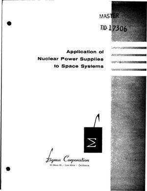 Primary view of object titled 'APPLICATION OF NUCLEAR POWER SUPPLIES TO SPACE SYSTEMS'.