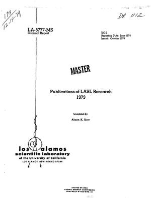 Primary view of object titled 'Publications of LASL research, 1973'.