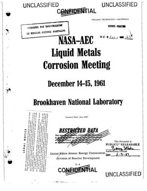Primary view of object titled 'NASA-AEC Liquid Metals Corrosion Meeting, December 14--15, 1961, Brookhaven National Laboratory.'.