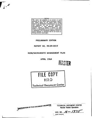 Primary view of object titled 'Preliminary edition, REON/Sacramento management plan'.