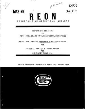 Primary view of object titled 'Radiation effects program planning details for General Dynamics, Fort Worth for contract year 1965'.
