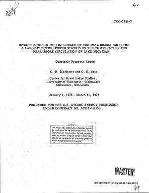 Primary view of object titled 'Investigation of the influence of thermal discharge from a large electric power station on the temperature and near-shore circulation of Lake Michigan. Quarterly progress report, January 1--March 31, 1973'.