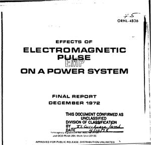 Primary view of object titled 'Effects of electromagnetic pulse (EMP) on a power system. Final report'.