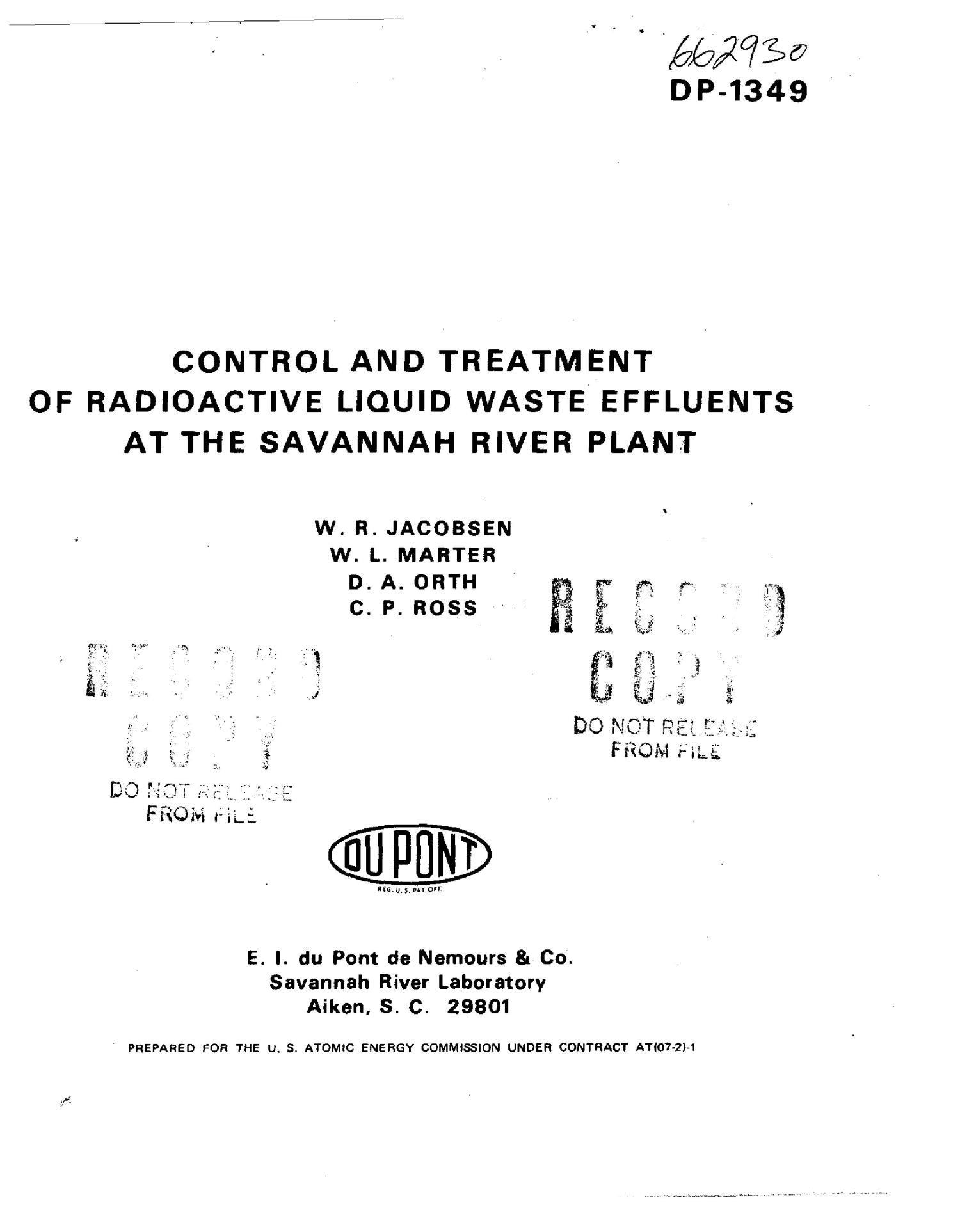 Control and treatment of radioactive liquid waste effluents at the Savannah River Plant                                                                                                      [Sequence #]: 1 of 127