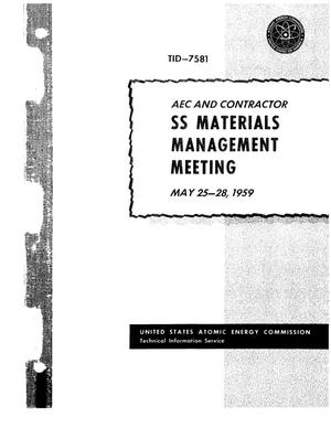 Primary view of object titled 'AEC AND CONTRACTOR SS MATERIALS MANAGEMENT MEETING, MAY 25-28, 1959, GERMANTOWN, MARYLAND'.