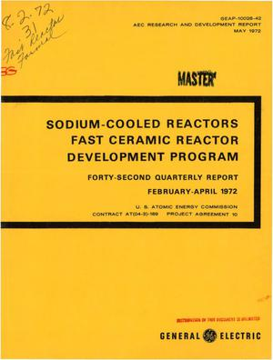 Primary view of object titled 'Sodium-Cooled Reactors Fast Ceramic Reactor Development Program. Forty- Second Quarterly Report, February--April 1972.'.