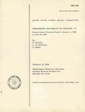 Primary view of object titled 'DIMENSIONAL INSTABILITY OF URANIUM--II. Second Annual Progress Report, January 1, 1956 to June 30, 1957'.