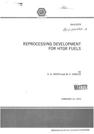 Primary view of object titled 'Reprocessing development for HTGR fuels'.
