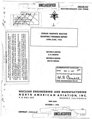 Primary view of object titled 'Sodium Graphite Reactor Quarterly Progress Report for April-June 1955. Section A. Section B'.