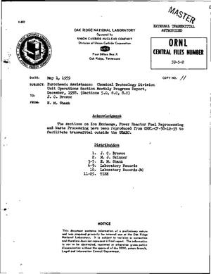 Primary view of object titled 'EUROCHEMIC ASSISTANCE: CHEMICAL TECHNOLOGY DIVISION UNIT OPERATIONS SECTION MONTHLY PROGRESS REPORT, DECEMBER 1958. (SECTIONS 5.0, 6.0, 8.0)'.