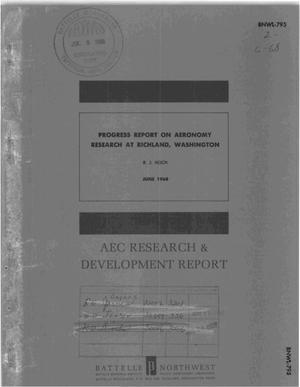 Primary view of object titled 'PROGRESS REPORT ON AERONOMY RESEARCH AT RICHLAND, WASHINGTON'.