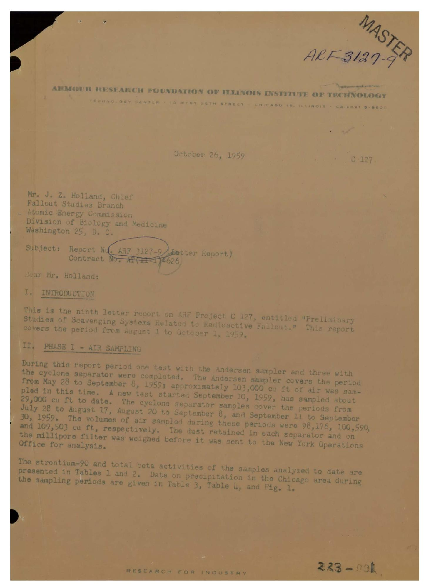 Preliminary Studies of Scavenging Systems Related to Radioactive Fallout. Letter Report No. 9 for August 1 to October 1, 1959                                                                                                      [Sequence #]: 1 of 11