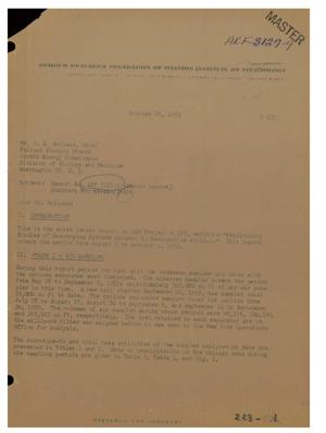 Primary view of object titled 'Preliminary Studies of Scavenging Systems Related to Radioactive Fallout. Letter Report No. 9 for August 1 to October 1, 1959'.