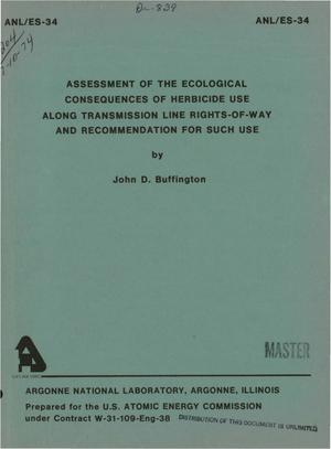 Primary view of object titled 'Assessment of the ecological consequences of herbicide use along transmission line rights-of-way and recommendation for such use'.